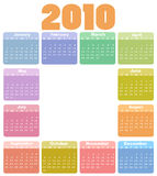 Calendar for 2010. Vector Illustration of style design Colorful Calendar for 2010 Stock Photo