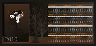Calendar 2010. Vector Calendar for 2010 with graphic elements Stock Images