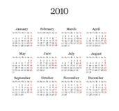 Calendar 2010 Royalty Free Stock Photography