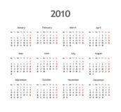 Calendar 2010. Basic wall calendar Royalty Free Stock Photo