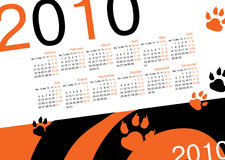 Calendar 2010. Year of tiger Royalty Free Stock Photography