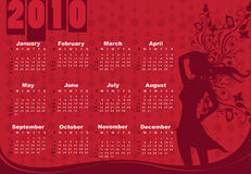 Calendar for 2010. Vector Illustration of style design Calendar for 2010 With sexy girl Royalty Free Stock Photos