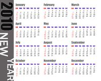 Calendar of 2010 Stock Photo
