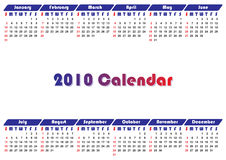Calendar 2010. Simple modern business calendar for 2010 - starts sunday Stock Photography