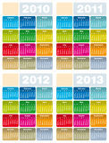 Calendar for 2010, 2011, 2012 and 2013. Colorful Calendars for years 2010, 2011, 2012 and 2013 in vector format royalty free illustration