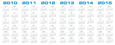 Calendar for 2010 through 2015. Simple calendar for years 2010 through 2015 vector illustration