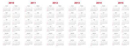 Calendar for 2010 through 2015. Simple calendar for years 2010 through 2015 stock illustration