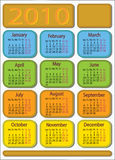 Calendar 2010. Colourful calendar with an opportunity of editing in the vector editor Stock Photography