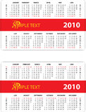 Calendar 2010. Horizontal oriented calendar grid of 2010 year. Monday is first day of week and Sunday is first day of week Stock Image