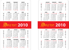 Calendar 2010. Vertical oriented calendar grid of 2010 year. Monday is first day of week and Sunday is first day of week Stock Illustration