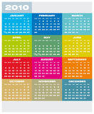 Calendar 2010. Colorful Calendar for year 2010 in vector format Stock Photos