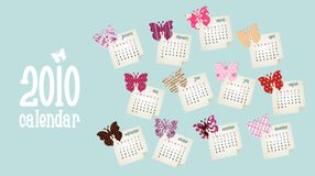 Calendar 2010. Butterfly design Royalty Free Stock Photo