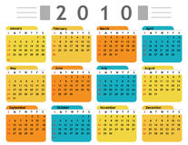 Calendar 2010 english. In vector mode Stock Photo
