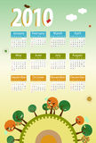 Calendar 2010 Environmental retro. Planet with trees,birds,flowers and clouds stock illustration