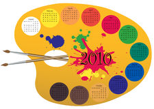 Calendar 2010 made as a paint palett. Vector illustration of a calendar for 2010, made as a palette for colors. month located around the perimeter of the palette vector illustration