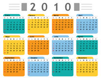 Calendar 2010 spanish. In vector mode stock illustration