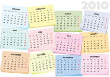 Calendar for 2010 of sticky notes Royalty Free Stock Images
