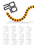 Calendar 2010 Tiger tail. Sunday - Saturday Royalty Free Stock Photos