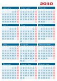 Calendar 2010 two colors. Vector version can be easily converted from RGB to two spot colors Stock Photo