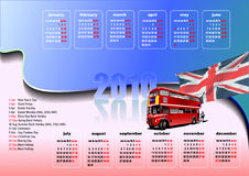 Calendar 2010 with United Kingdom  holidays Royalty Free Stock Images
