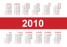 Calendar 2010. vector template Stock Photos