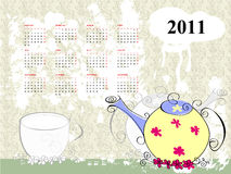 Calendar for 2011. With teapot Royalty Free Stock Photos