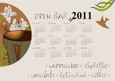 Calendar for 2011. With a cup of coffee Royalty Free Stock Photos