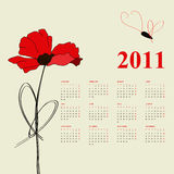 Calendar for 2011. With poppy flowers Stock Photo