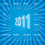 Calendar 2011. Calendar for year 2011, in  format. Week starts on Sunday Stock Photography