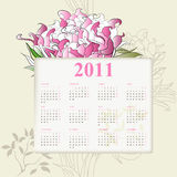 Calendar for 2011. With flowers vector illustration