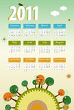 Calendar 2011. Environmental retro planet with trees,birds,flowers and clouds Stock Photos