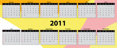 Calendar 2011. Vector illustration of color calendar for year 2011 Royalty Free Stock Photos
