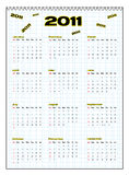 Calendar 2011. Vector illustration of calendar 2011 with grid Royalty Free Stock Photography