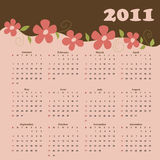 Calendar for 2011. Calendar for year 2011 with flowers Stock Photography