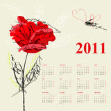 Calendar for 2011. With red rose flowers Stock Images