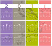 Calendar for 2011. Vector Illustration of style design Colorful Calendar for 2011 Stock Photos