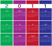 Calendar for 2011. Vector Illustration of style design Colorful Calendar for 2011 Royalty Free Stock Photography