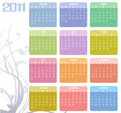Calendar for 2011. Vector Illustration of style design Colorful Calendar for 2011 Royalty Free Stock Image