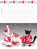 Calendar  2011. Year of cat or rabbit, vector illustration Royalty Free Stock Images
