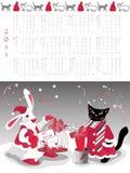 Calendar 2011. Year of cat or rabbit, vector illustration stock illustration