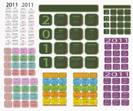 Calendar 2011. Set of calendars for 2011 from ten pieces Royalty Free Illustration