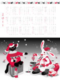 Calendar  2011. Year of cat or rabbit, vector illustration Royalty Free Stock Photos