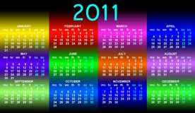 Calendar 2011. This is a calendar for 2011 on a white background. Starts sunday Helvetica font used. Colors can be changed in additional format Royalty Free Stock Photos