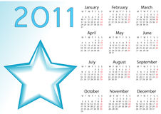 Calendar for 2011. This is a calendar for 2011 on a star background Stock Image