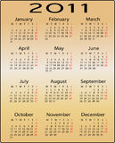Calendar for 2011. This is a calendar for 2011 on a gold background Stock Image