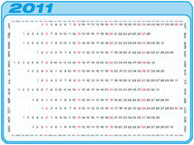 Calendar 2011. Calendar for 2011. Numbers within a grid. Horizontal design Royalty Free Stock Images