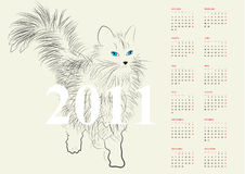Calendar for 2011. Universal template for greeting card, web page, background Stock Images
