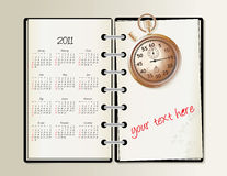 Calendar 2011. 2011 calendar with a blanknote and stopwatch -  illustration Stock Images