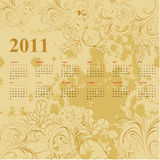 Calendar  2011. Vintage template for calendar  2011 Royalty Free Stock Image