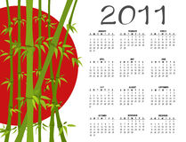 Calendar for 2011. Vector Illustration of asian style design Calendar for 2011 Stock Image